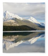 Malingne Lake Reflection, Jasper National Park  Fleece Blanket