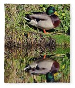 Mallard And Reflection Fleece Blanket
