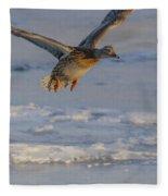 Mallard Landing Over Ice Fleece Blanket