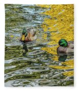 Mallards On Golden Pond 3 Fleece Blanket