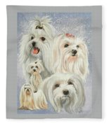 Maltese Collage Fleece Blanket