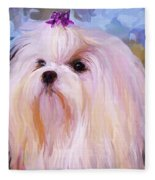 Maltese Portrait - Square Fleece Blanket