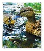 Mama And Chick Fleece Blanket