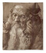 Man Aged 93 Brush Ink On Paper 1521 Fleece Blanket