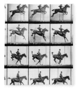Man And Horse Jumping Fleece Blanket