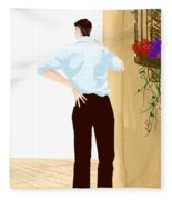 Man At The End Of The Corridor Fleece Blanket