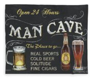 Man Cave Chalkboard Sign Fleece Blanket