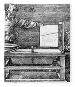 Man Drawing A Lute 1523 Fleece Blanket