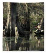 Man Fishing In Cypress Swamp Fleece Blanket