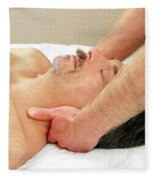 Man Getting Neck Massage Fleece Blanket