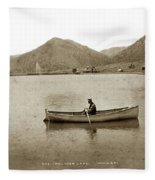 Man In A Row Boat Named Lizzie On Palmer Lake On The Colorado Di Fleece Blanket