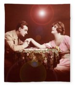 Man Kissing Womans Hand Romantic Couple Fleece Blanket