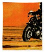 Man On Bike Fleece Blanket