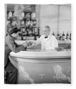 Man Ordering Another Drink, C. 1940s Fleece Blanket