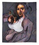 Man Painting Woman Fleece Blanket