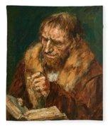 Man Reading 1922 Fleece Blanket