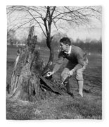 Man Retrieving Golf Ball From Tree Fleece Blanket