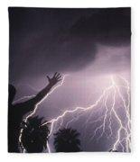 Man With Lightning, Arizona Fleece Blanket