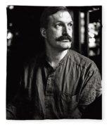 Man With Mustache Fleece Blanket