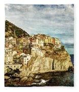 Manarola In The Sun - Vintage Version Fleece Blanket