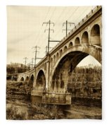 Manayunk Bridge Across The Schuylkill River In Sepia Fleece Blanket