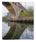 Manayunk Canal Bridge Reflection Fleece Blanket