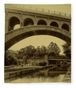 Manayunk Canal In Sepia Fleece Blanket