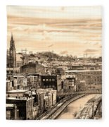 Manayunk In March - Canal View In Sepia Fleece Blanket