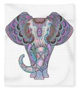Mandala Elephant Indigo Fleece Blanket