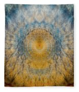 Mandala From The Garden 2 - Flower Feather Shield Fleece Blanket