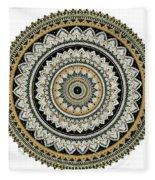 Black And Gold Mandala Fleece Blanket