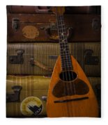 Mandolin And Suitcases Fleece Blanket