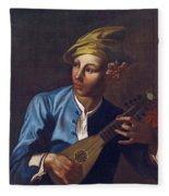 Mandolin Player Fleece Blanket