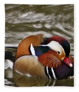 Mandrin Duck Posing Fleece Blanket