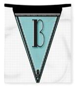 Pennant Deco Blues Banner Initial Letter B Fleece Blanket