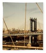 Manhattan Bridge From The Brooklyn Bridge  Fleece Blanket