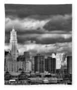 Manhattan Nyc Storm Clouds Cityview Fleece Blanket