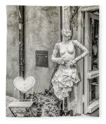 Mannequin On The Street Bw Fleece Blanket