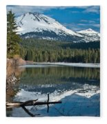 Manzanita Lake Reflects On Mount Lassen Fleece Blanket