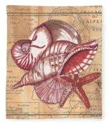Map And Shells Fleece Blanket