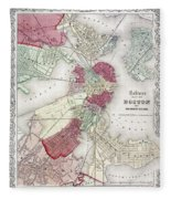Map: Boston, 1865 Fleece Blanket
