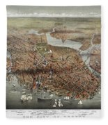 Map: Boston, C1873 Fleece Blanket