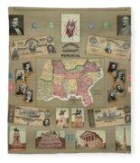 Map: Confederate States Fleece Blanket