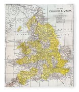 Map: England & Wales Fleece Blanket