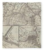 Map Illustrating General Lee's Advance Into Pennsylvania  Fleece Blanket