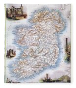 Map: Ireland, 1851 Fleece Blanket