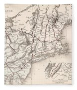 Map: Northeast U.s.a Fleece Blanket