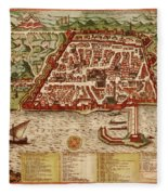 Map Of Algiers 1541 Fleece Blanket