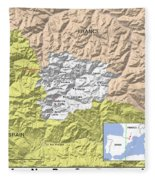 Map Of Andorra Fleece Blanket