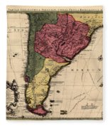 Map Of Argentina 1700 Fleece Blanket